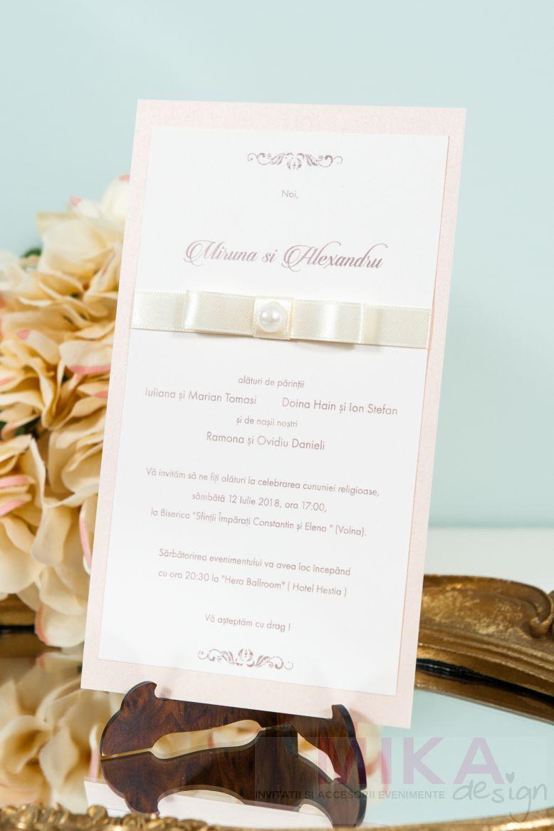 Invitatie nunta delicata cu perla - poza 4