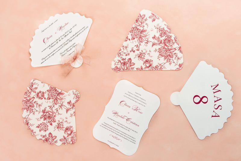 Invitatie nunta design floral vintage - poza 2