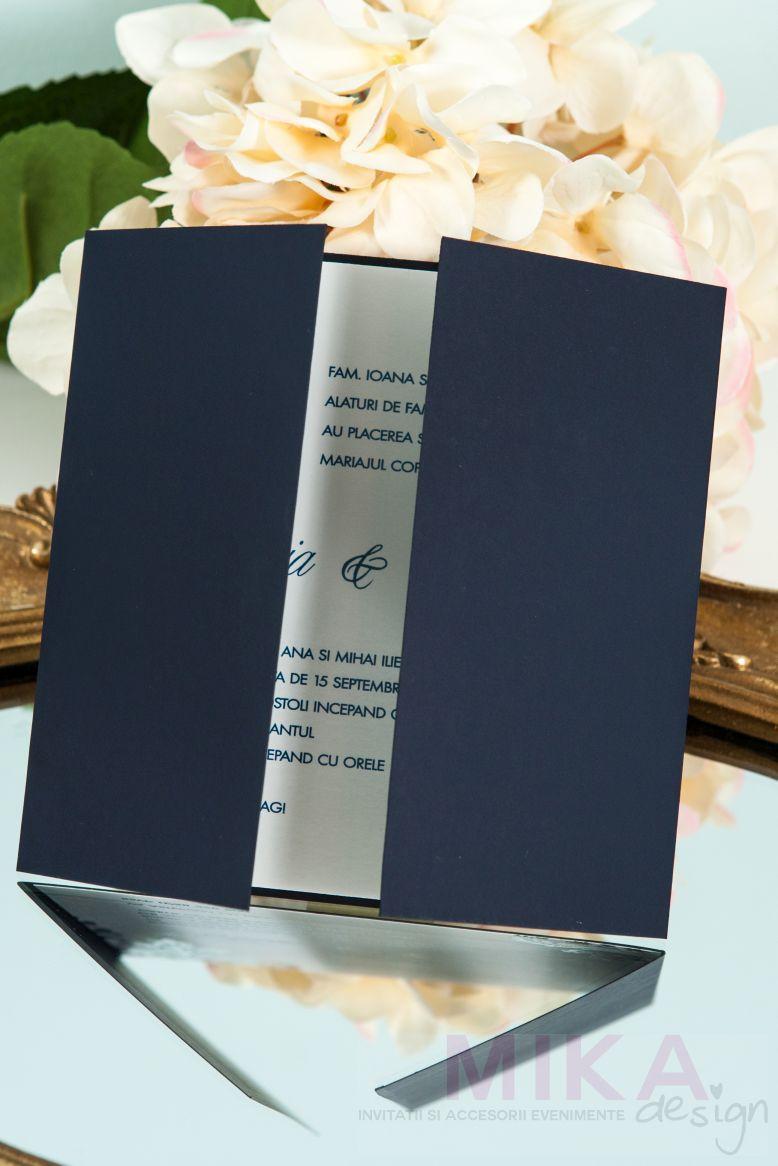 Invitatie nunta eleganta albastru cu argintiu - poza 2