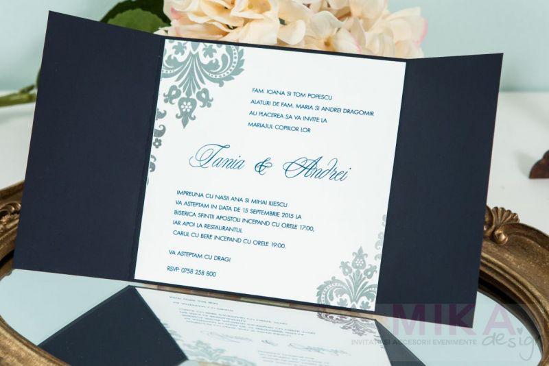 Invitatie nunta eleganta albastru cu argintiu - poza 1