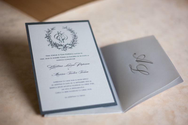 Invitatie nunta eleganta argintiu - poza 4