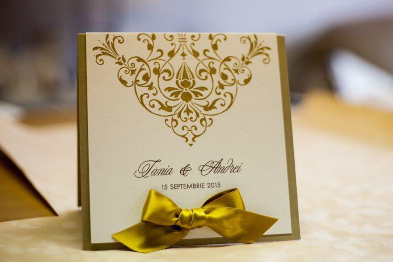 Invitatie nunta eleganta auriu si ivoire - poza 1