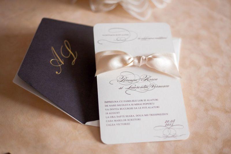 Invitatie nunta eleganta crem si maro - poza 1