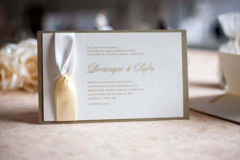Invitatie nunta eleganta cu funda satin - poza 1