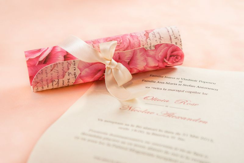 Invitatie nunta eleganta cu trandafiri - poza 3