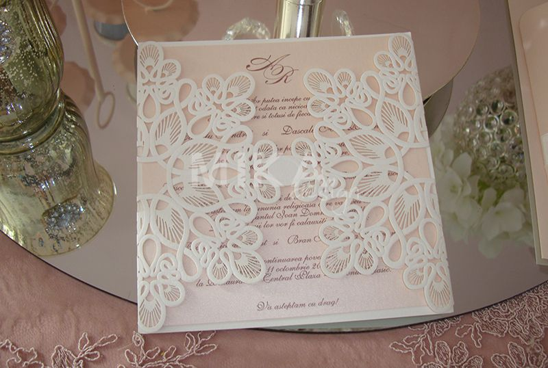 Invitatie nunta lasercut dantela - poza 1