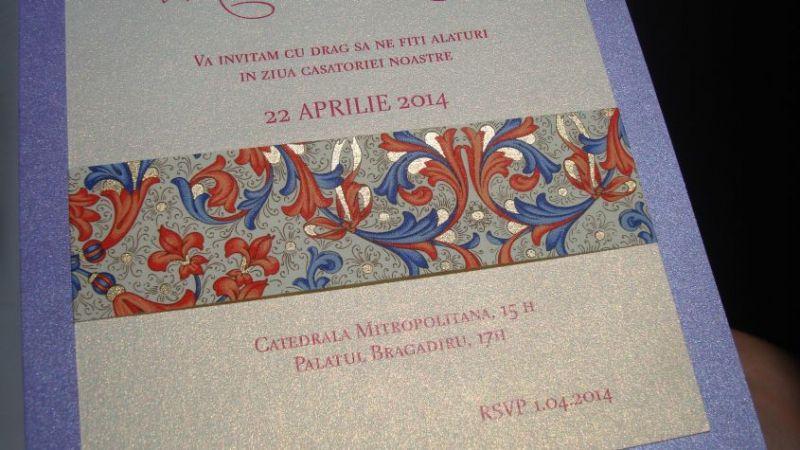 Invitatie nunta lila sidefat - poza 3