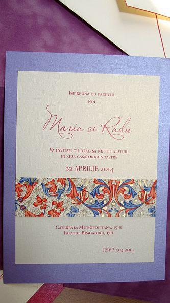 Invitatie nunta lila sidefat - poza 4