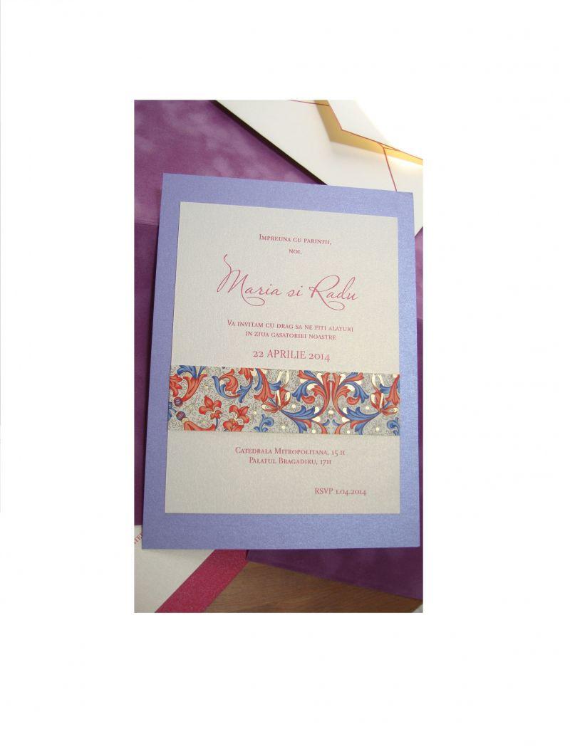 Invitatie nunta lila sidefat - poza 2