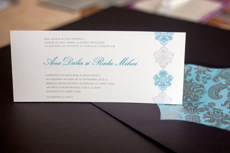 Invitatie nunta moderna maro cu bleu turcoaz - poza 1