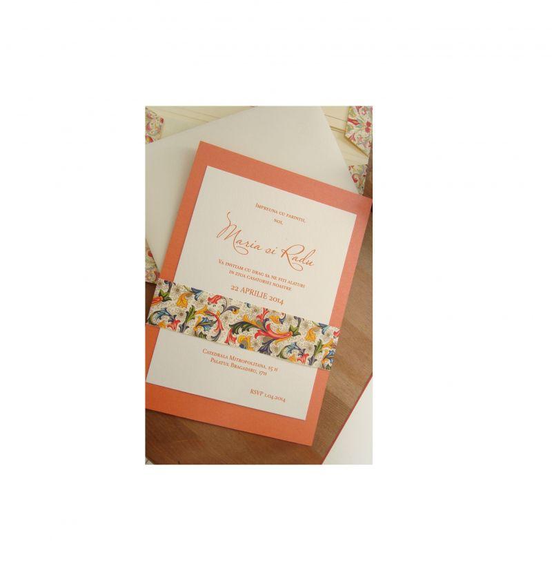 Invitatie nunta orange, auriu, ivoire - poza 3