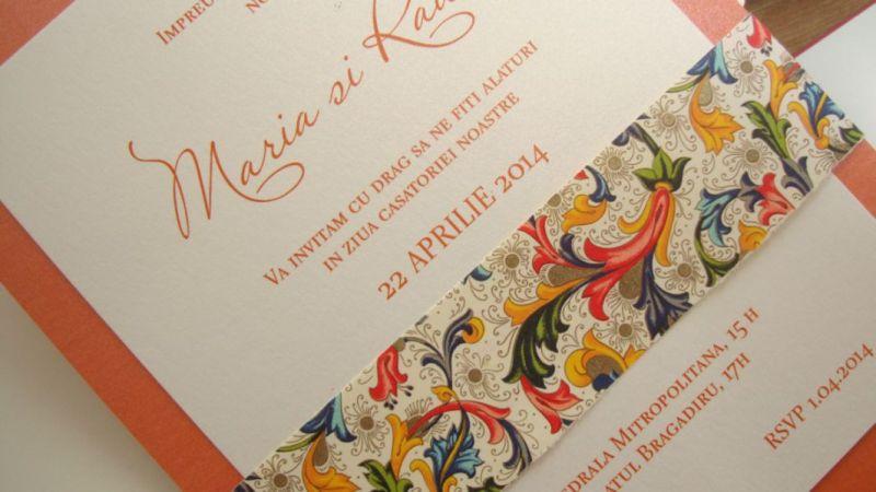 Invitatie nunta orange, auriu, ivoire - poza 2