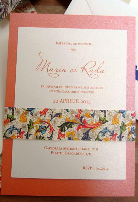 Invitatie nunta orange, auriu, ivoire - poza 5