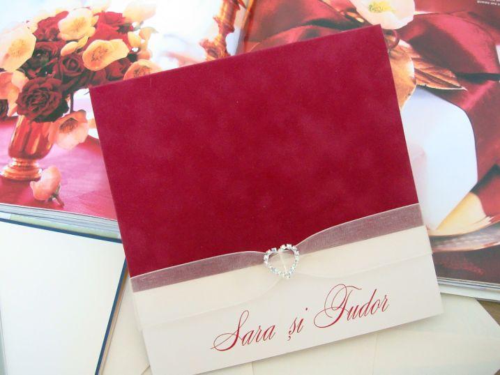 Invitatie nunta din catifea rosie, inimioara cristale - poza 4