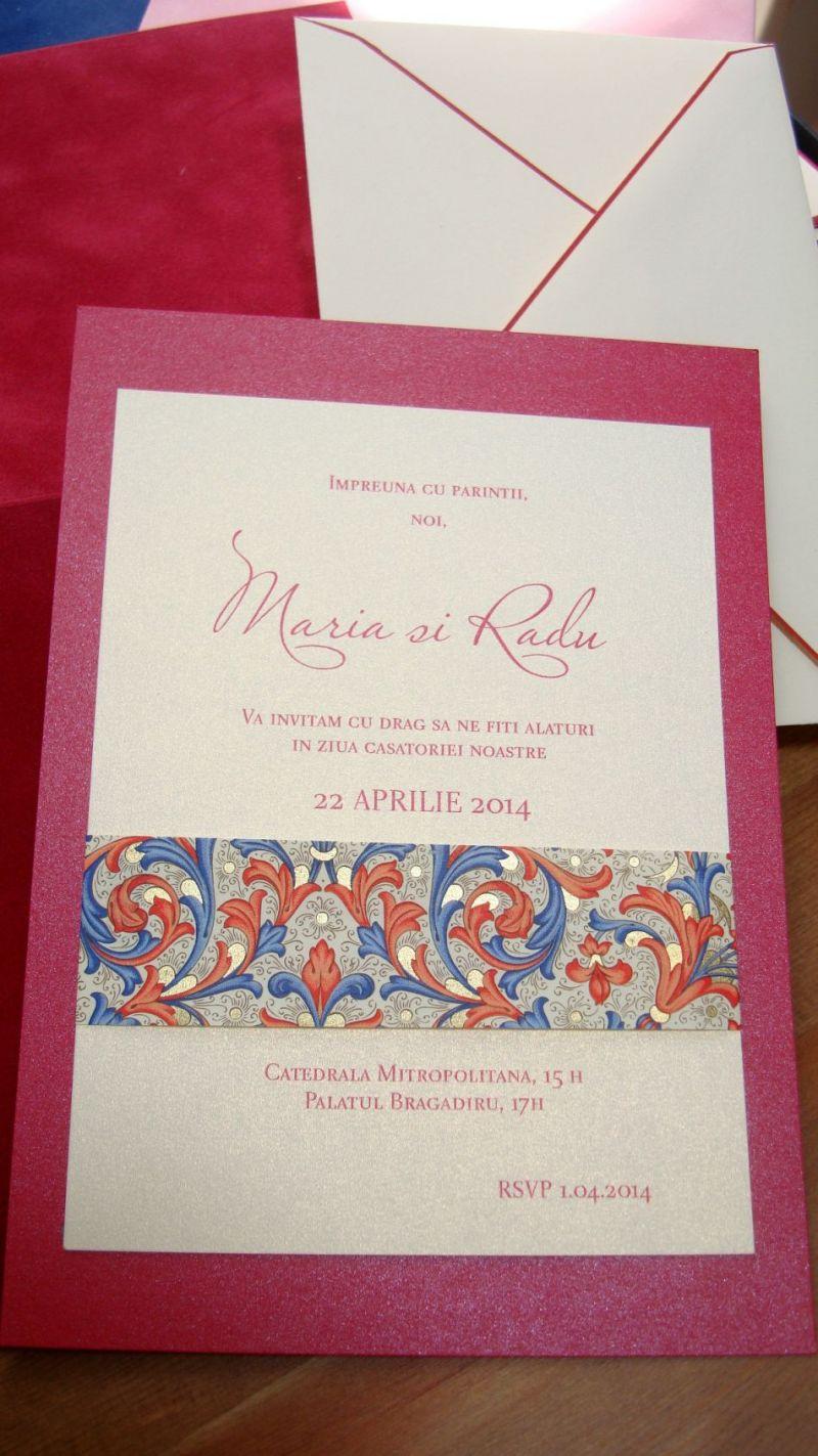 Invitatie nunta banda decorativa design florentin, rosu si auriu - poza 4