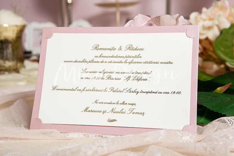 Invitatie nunta roz pudrat - poza 1