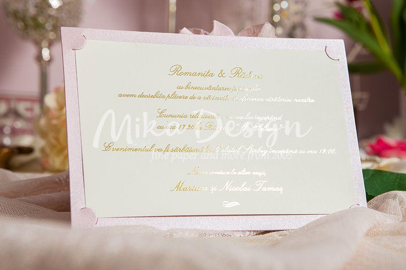 Invitatie nunta roz pudrat - poza 2
