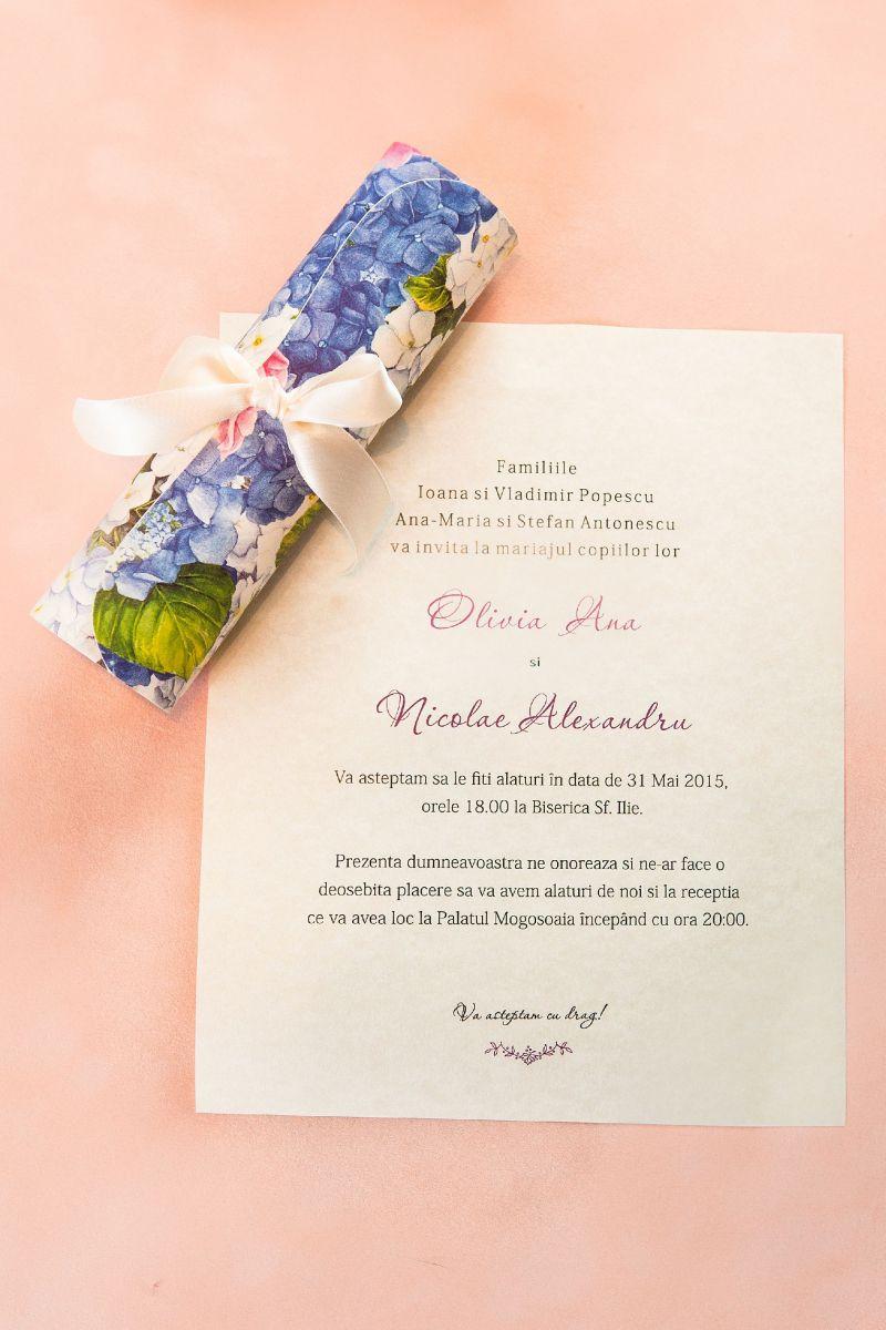 Invitatie nunta scroll cu hortensie - poza 2