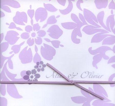 Invitatie nunta cu desen floral lila - poza 2