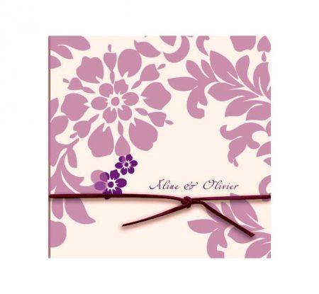 Invitatie nunta cu desen floral lila - poza 1