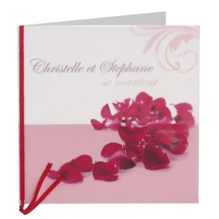 Invitatie nunta cu fundita satin rosie - poza 1
