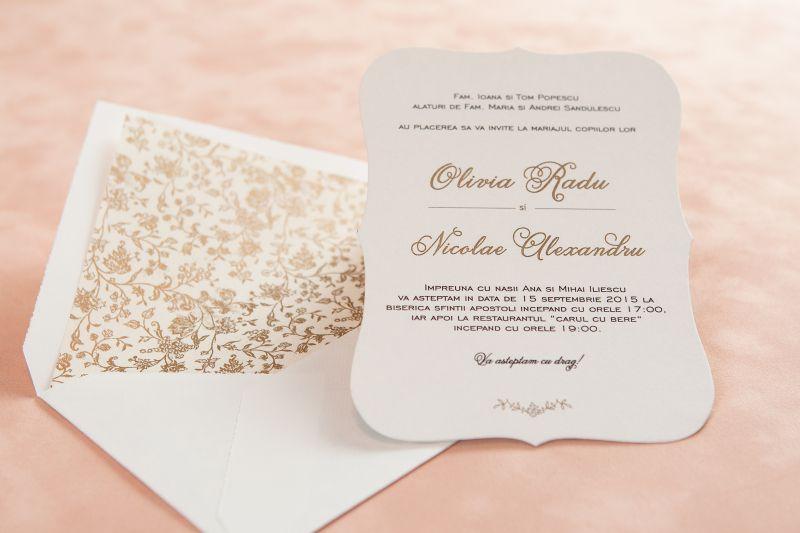 Invitatie nunta vintage cu floricele aurii