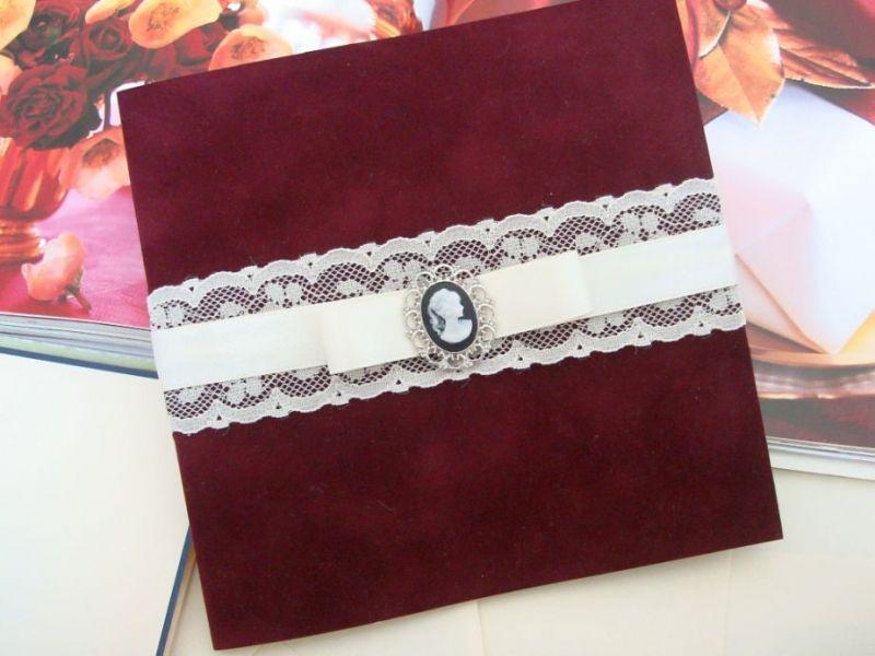 Invitatie nunta tematica vintage cu camee - poza 1