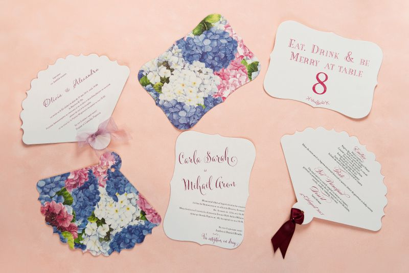 Invitatii nunta cu hortensii - poza 2