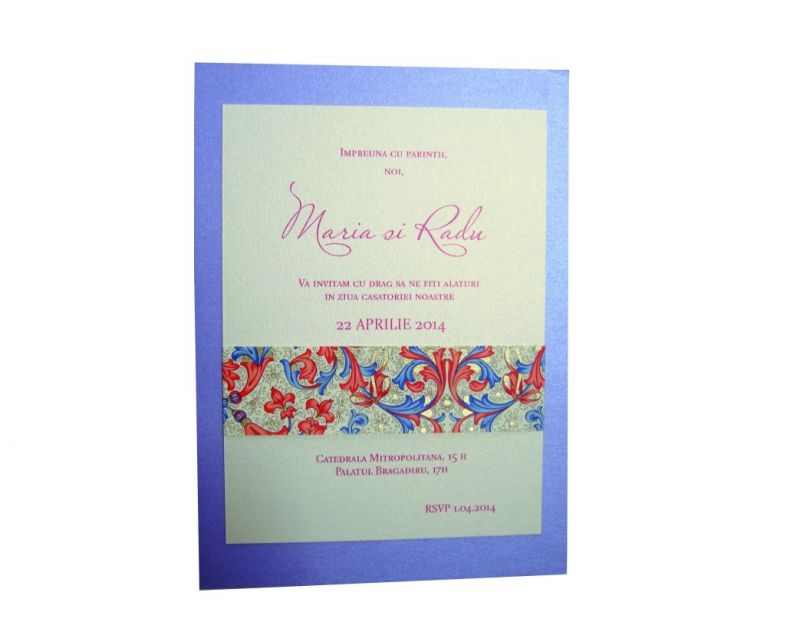 invitatie nunta lila sidefat