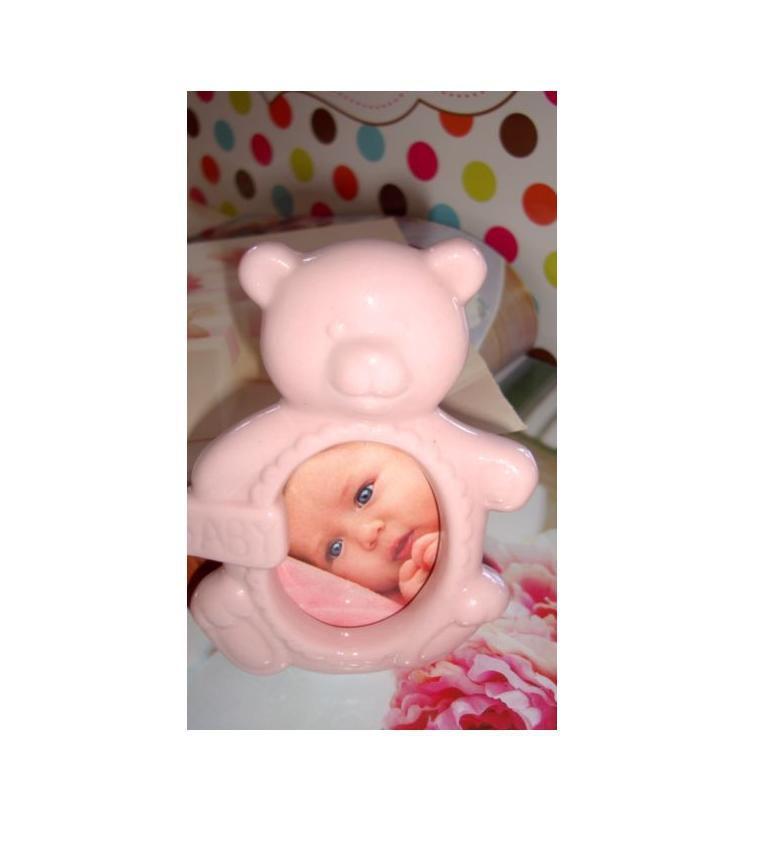 rama foto ursulet roz portelan