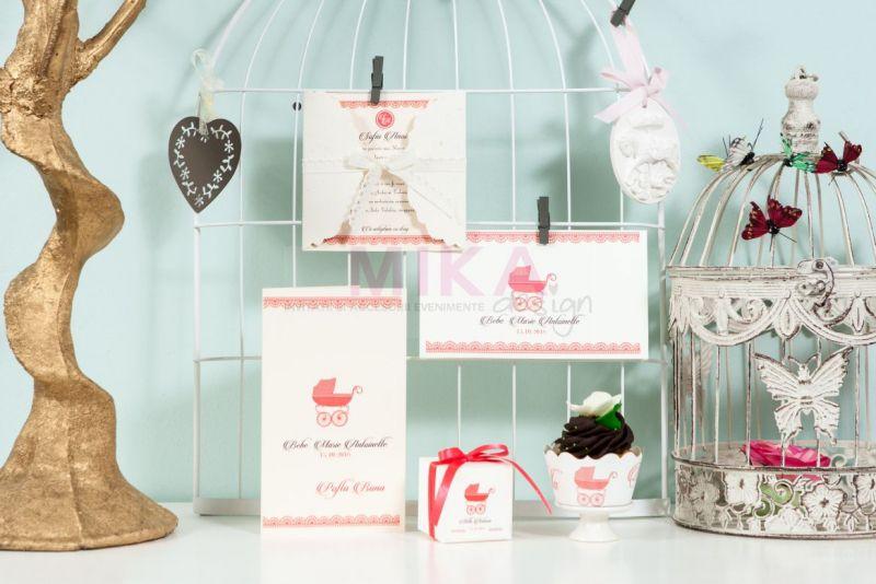 Meniu botez cu design dantela roz - poza 2