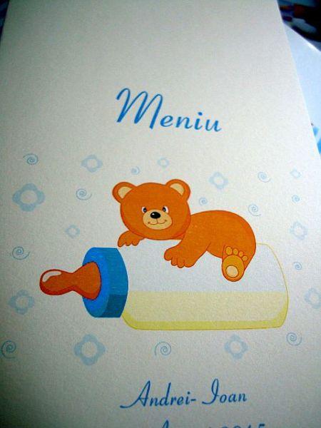 Meniu pentru botez cu ursulet si biberon copilas - poza 2