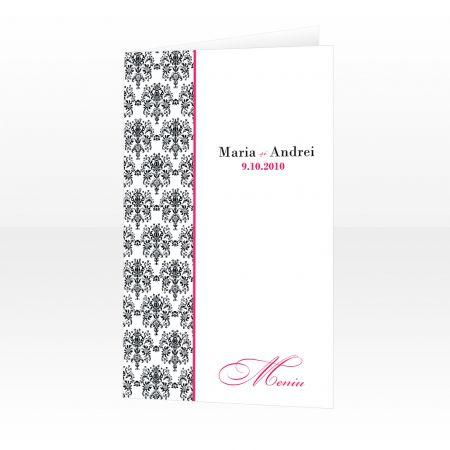 Meniu pentru nunta design damasc negru cu roz - poza 1