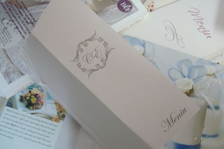 Meniu nunta argintiu cu monograma miri - poza 1