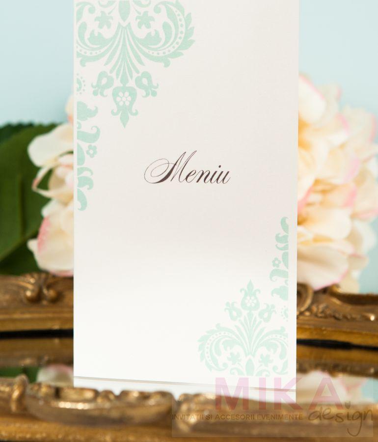 Meniu nunta design verde pastel - poza 1