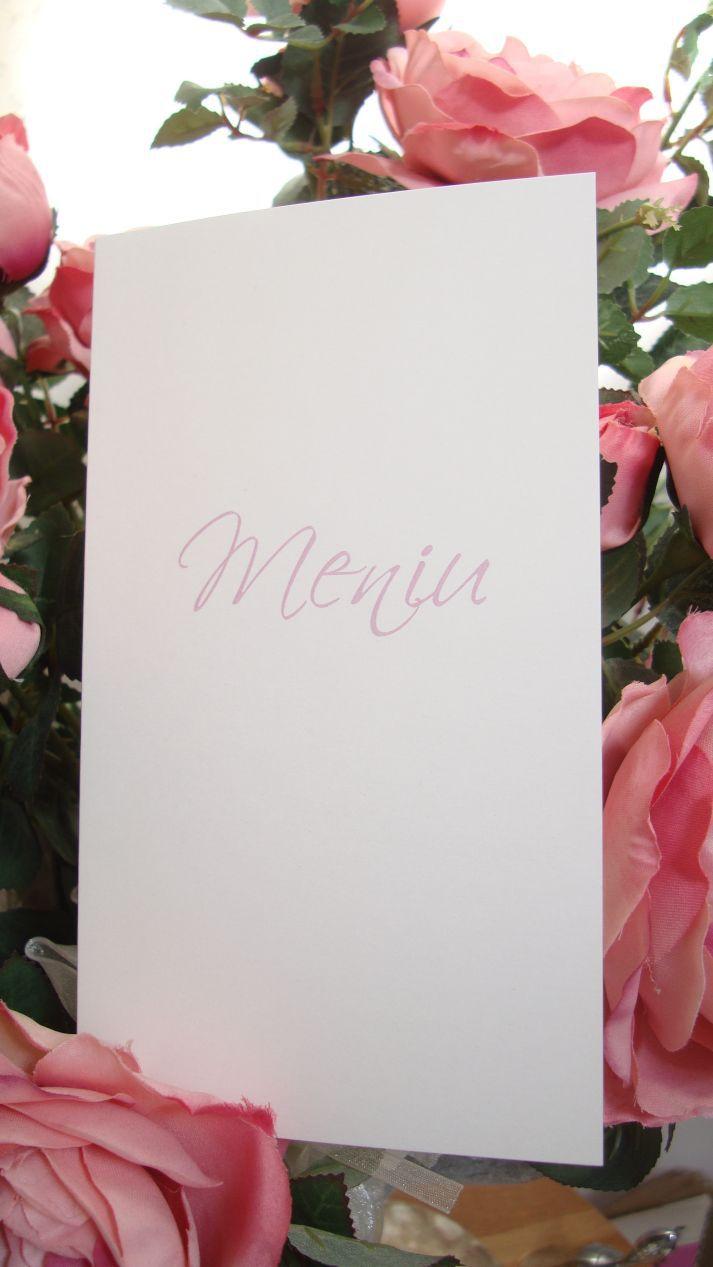 Meniu nunta realizat din carton alb sidefat cu scris auriu - poza 4