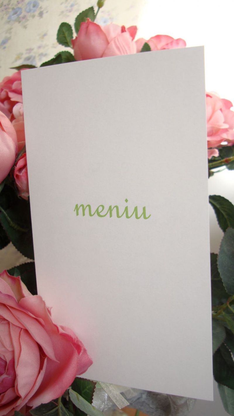 Meniu nunta realizat din carton alb sidefat cu scris auriu - poza 2