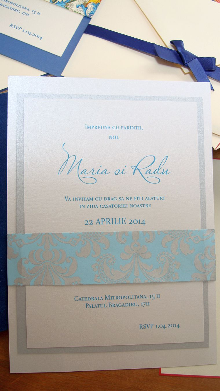Invitatie nunta damasc argintiu si turcoaz - poza 5