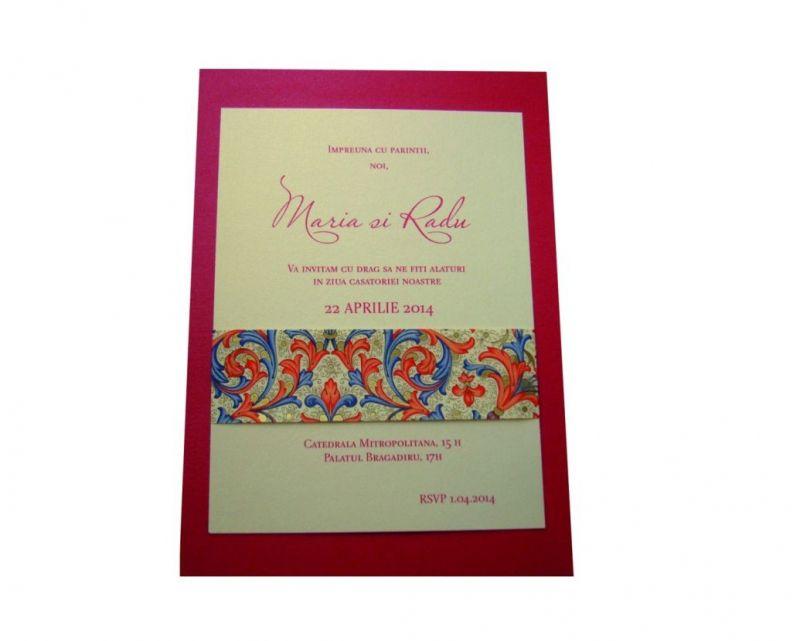 invitatie nunta banda decorativa design florentin, rosu si auriu