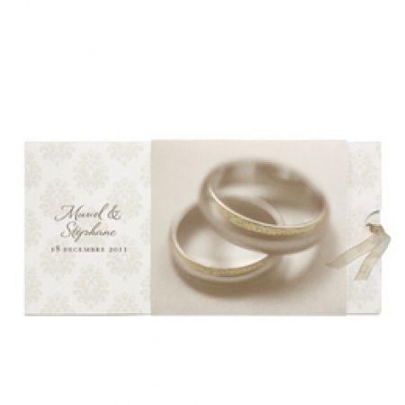 Invitatie de nunta cu verighete aurii, design baroc - poza 1