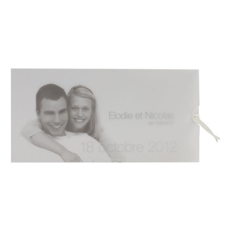 Invitatie nunta cu fotografia mirilor personalizata pe calc - poza 2