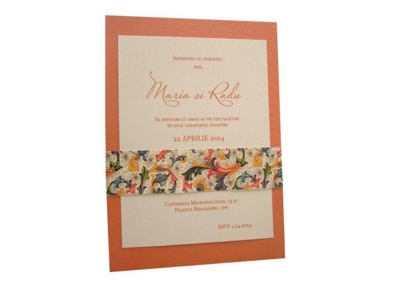 invitatie nunta orange, auriu, ivoire
