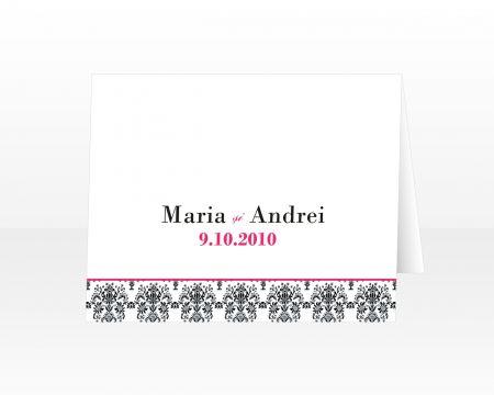 Place card cu damasc negru cu roz - poza 1
