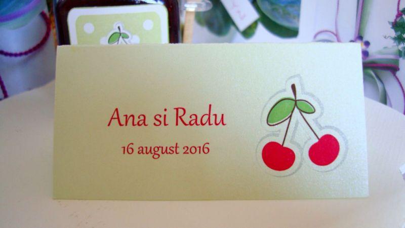 Card cu numele invitatului design doua cirese - poza 1