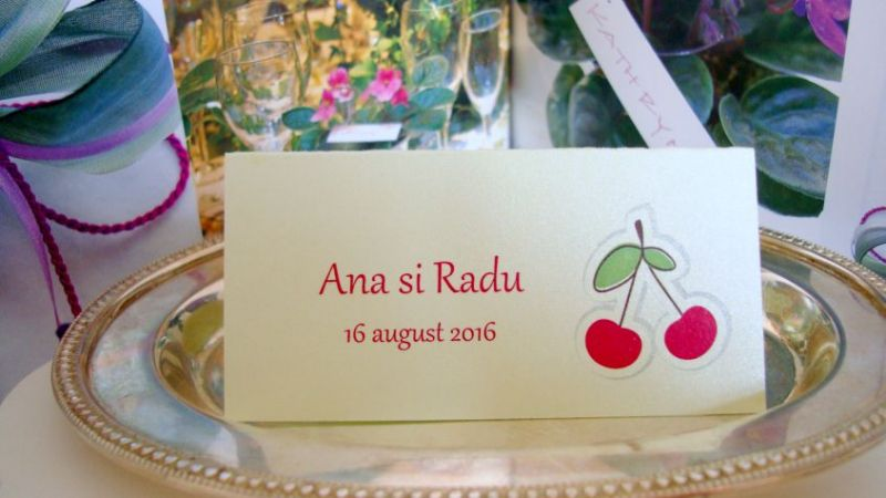 Card cu numele invitatului design doua cirese - poza 2