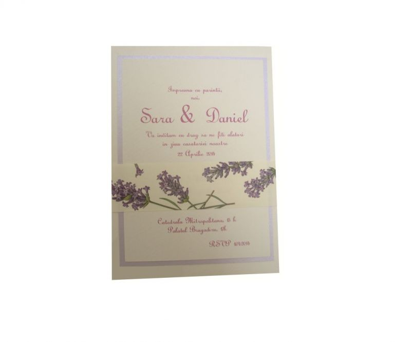 invitatii nunta rustice, lavanda, provence, lila