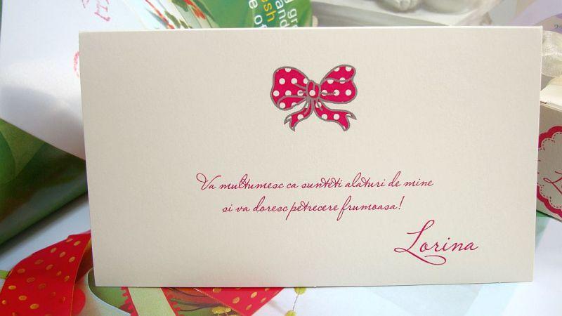 Card bani nunta cu fundita roz - poza 1