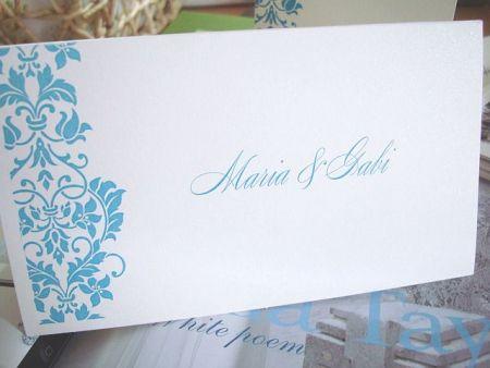 Plic de nunta cu design floral turcoaz - poza 1
