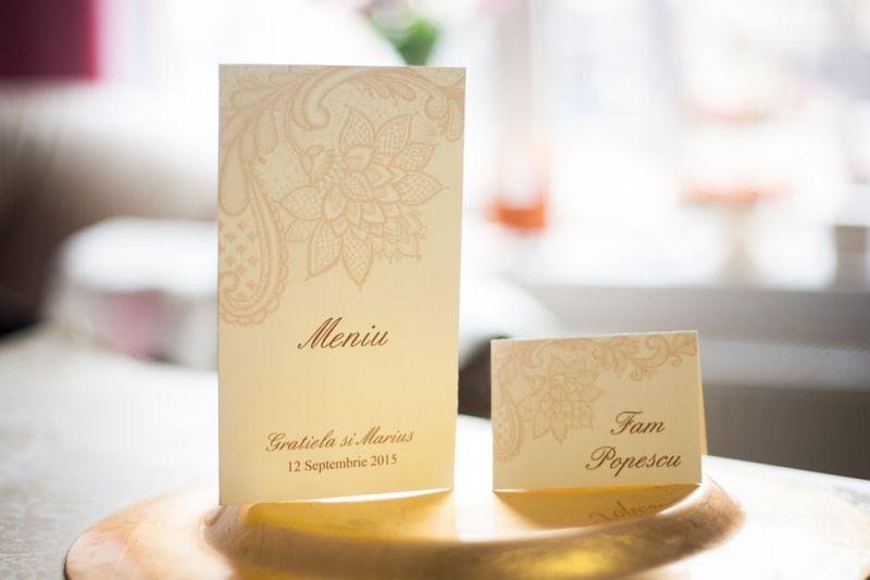 Card de masa nunta dantela crem - poza 2