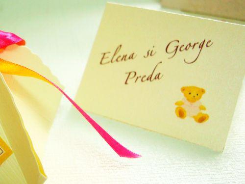 Card botez cu design ursulet galben si roz - poza 1